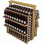 Vintner Commercial Island with Individual Bottle Rails Counter Top and 4 Display Shelves