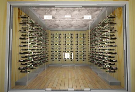 Modern Wine Cellar Cable Racking Series with Acrylic