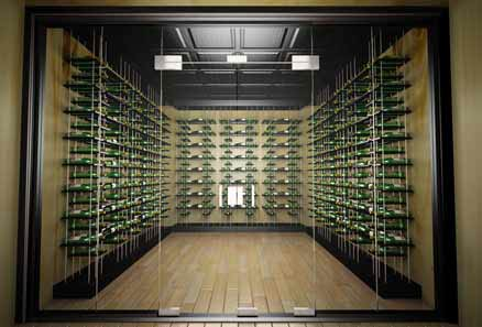 Modern Wine Cellar Cable Racking Series with Midnight Black Stain