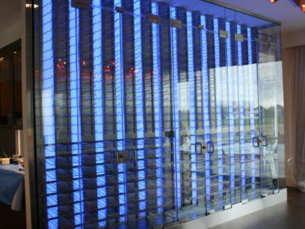 Metal Wine Racking with Glass Walls and LED colored lights - 277896
