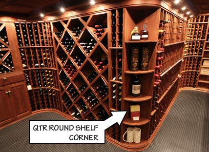 Wine Racking Styles - Quarter Round Shelf Corner