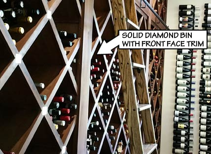 Wine Rack Styles - Solid Diamond Bin with Front Face Trim