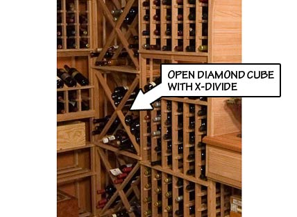 Wine Rack Styles - Open Diamond Cube with X-Divide