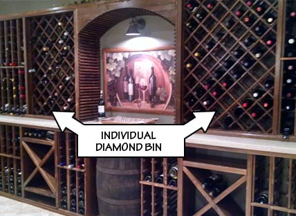 Wine Rack Styles - Individual Diamond Bin