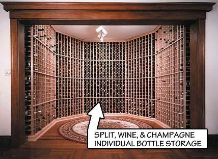 Racking Styles - Split, Wine and Champagne - Individual Bottle Storage