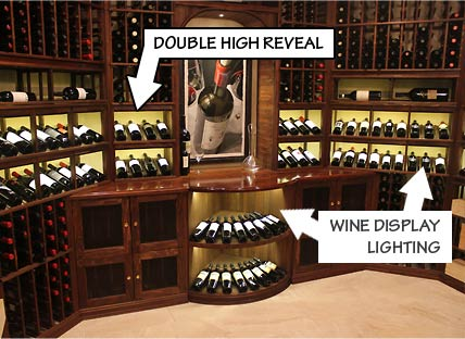 Racking Styles - Double High Reveal and Wine Display Lighting -Individual Bottle Storage